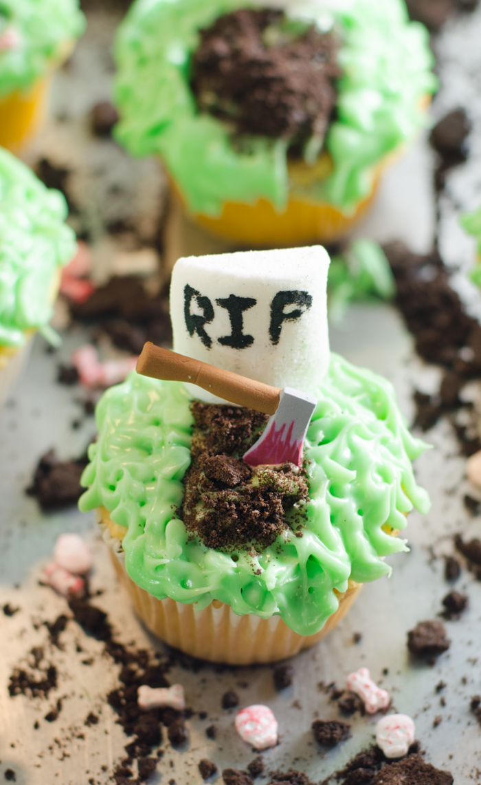Fun easy Halloween cupcakes with quirky graveyard Halloween candy toppers