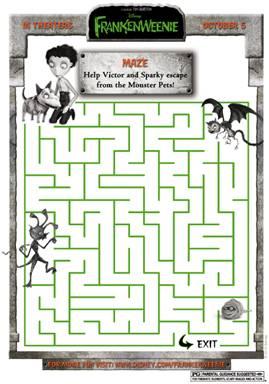 Disney's Frankenweenie Activity Sheets~