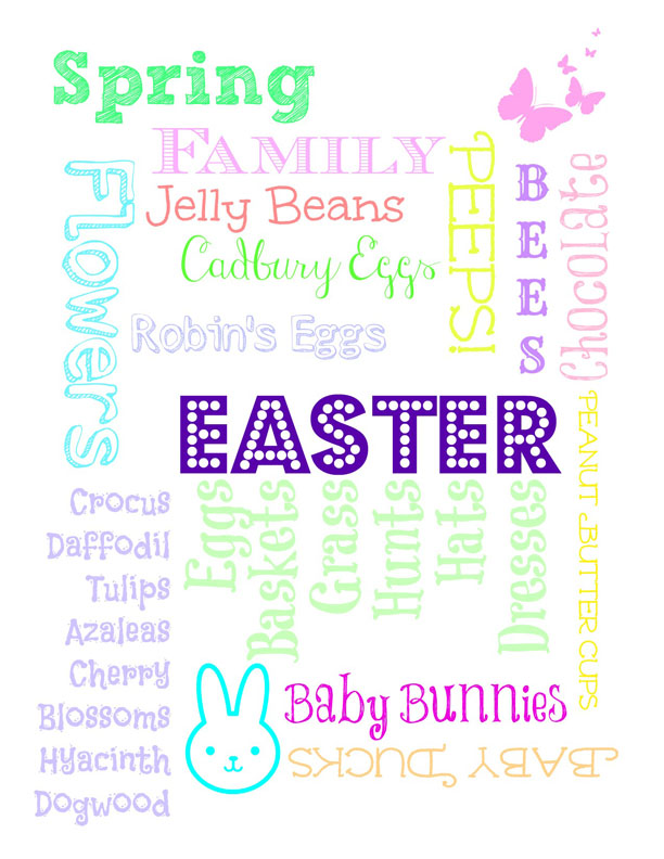 Free Printable Subway Art Easter - Worksheet & Coloring Pages