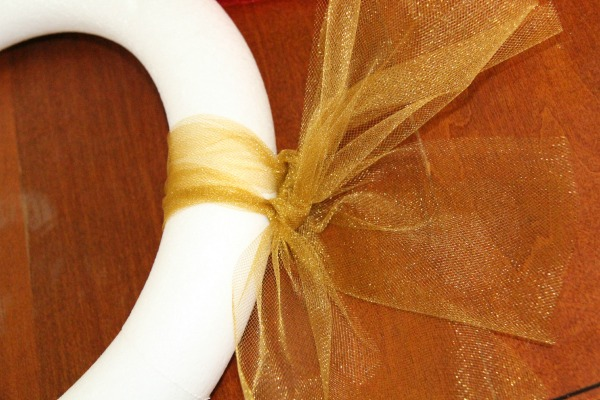 Thanksgiving wreath - Start with tying the tulle