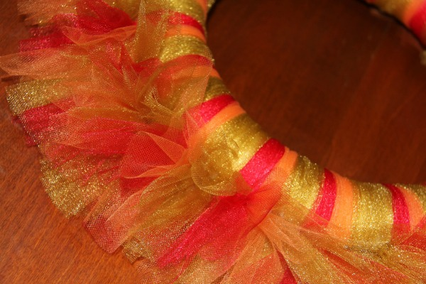 Thanksgiving wreath - tulle tied