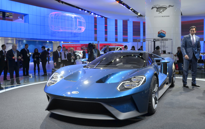 Mark Fields admiring Ford's latest GT release. The Ford GT is the premiere racing vehicle in the Ford lineup