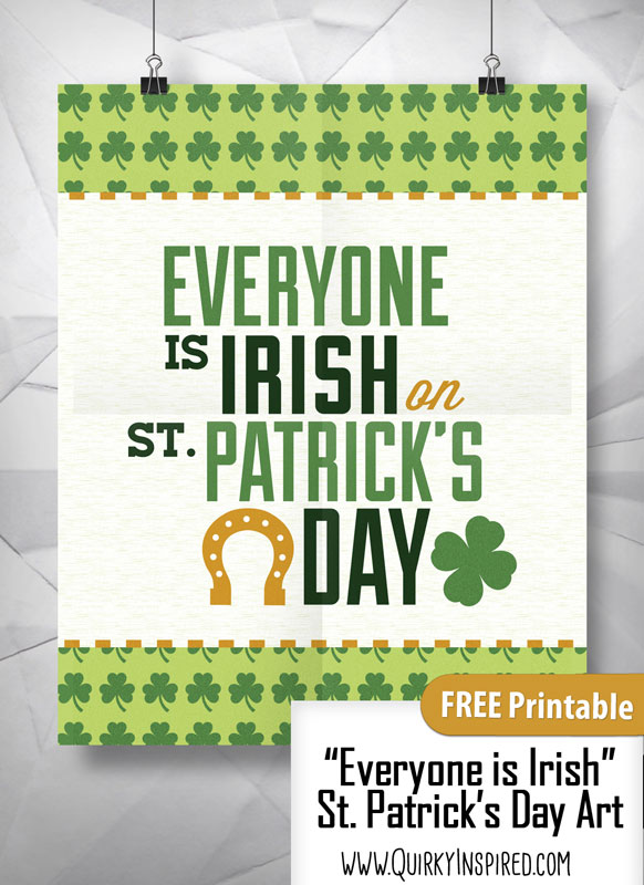 This free St Patrick's day printable is such a cute way to decorate your home