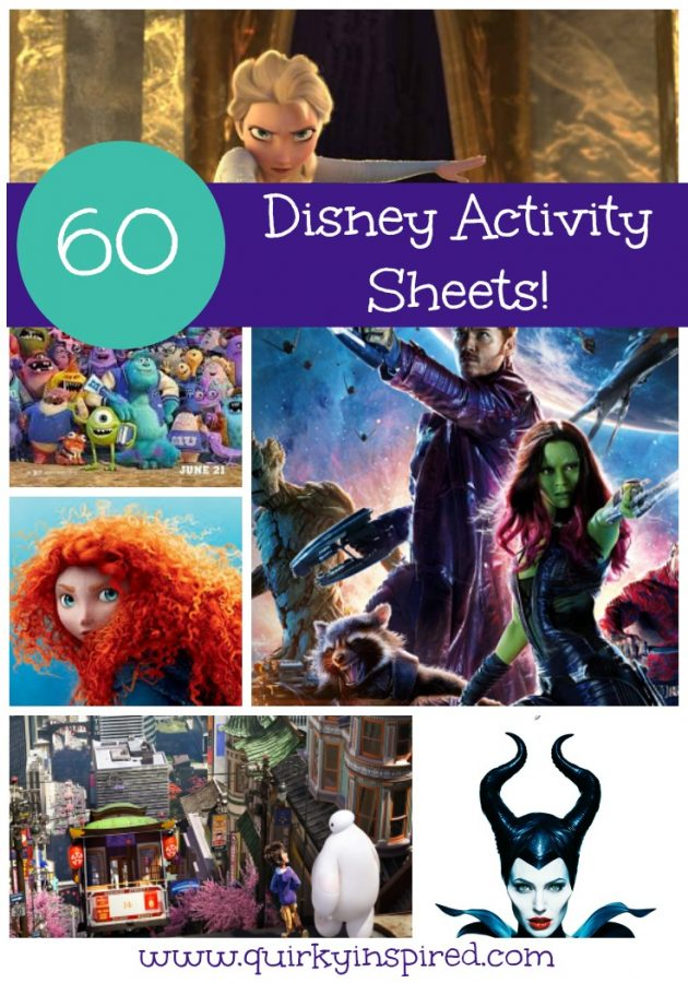 A cute collection of printable Disney activity sheets with Frozen, Guardians of the Galaxy, Brave, Big Hero 6 and more!