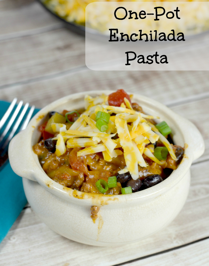 Want and easy one pot dinner? Check out this enchilada pasta bake. It's amazing!
