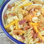 Looking for an easy pasta salad recipe? This creamy bacon cheddar ranch pasta salad is amazing!