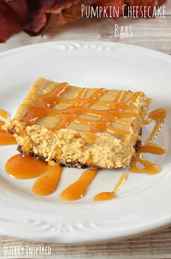 Caramel Pumpkin Cheesecake Bars (with a Gluten Free Option)