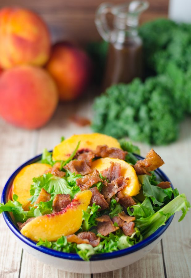 Check out this salad with crispy bacon and peaches!